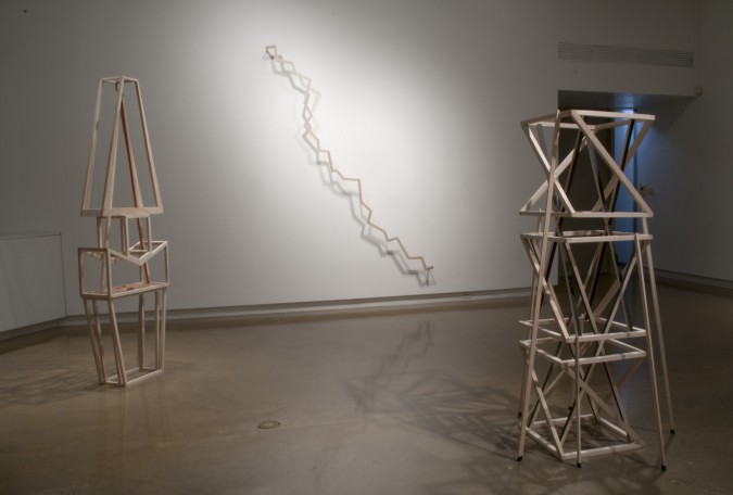 Left to right: Stack 2, Untitled, and Stack 4 (all 2014)